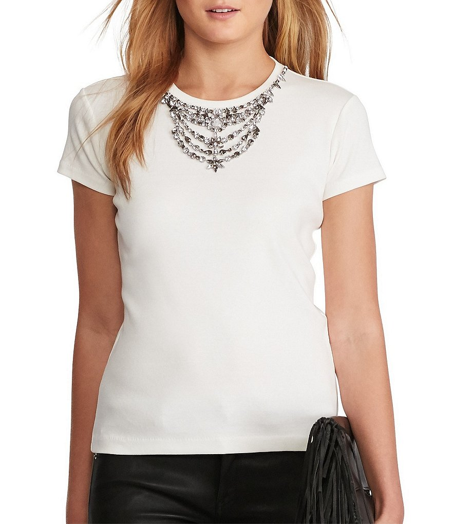 Polo Ralph Lauren Jeweled-Neckline Short Sleeve Tee