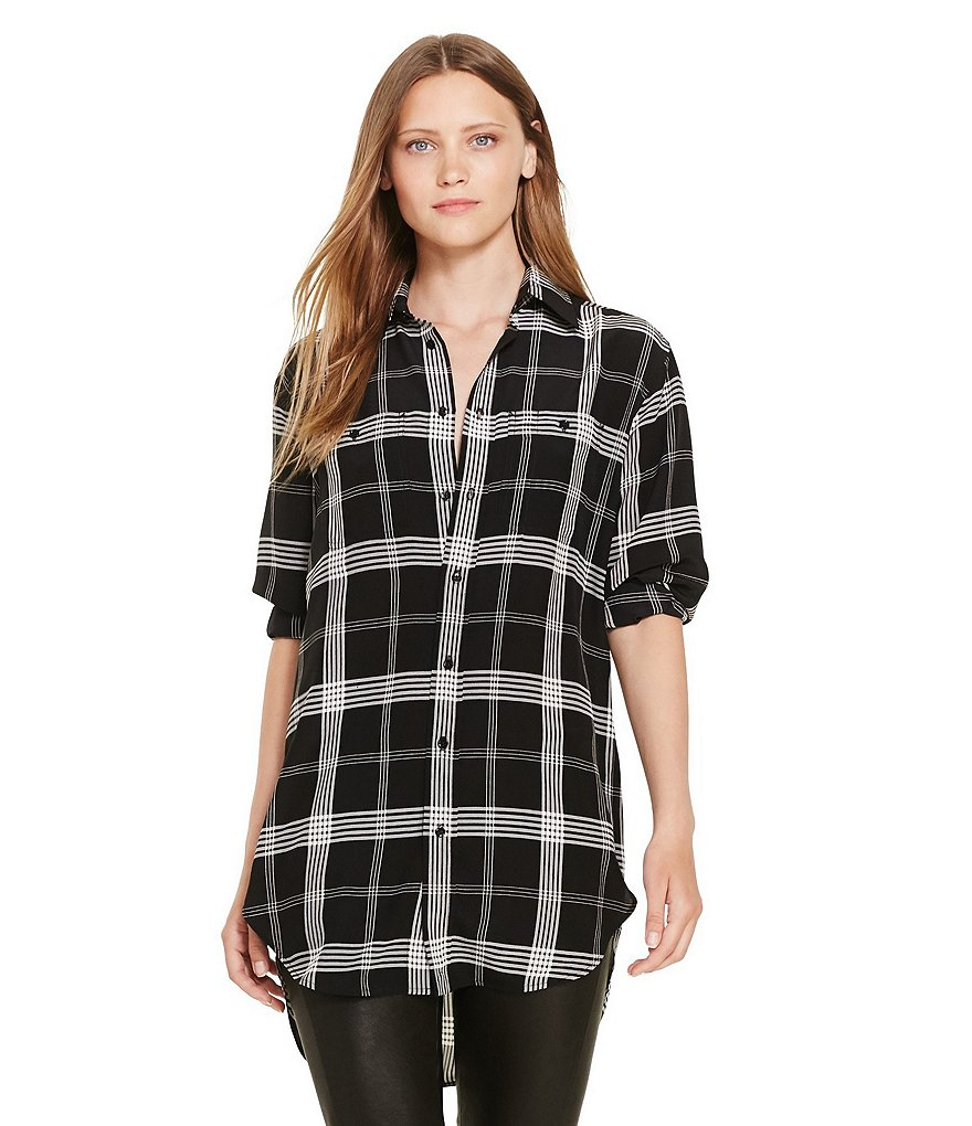 Polo Ralph Lauren Point Collar Relaxed-Fit Plaid Silk Shirt