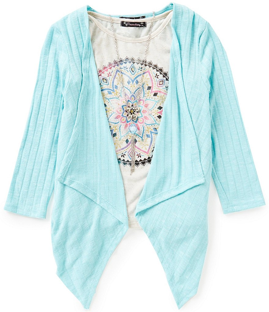 Xtraordinary Big Girls 7-16 Cardigan and Printed Top Set