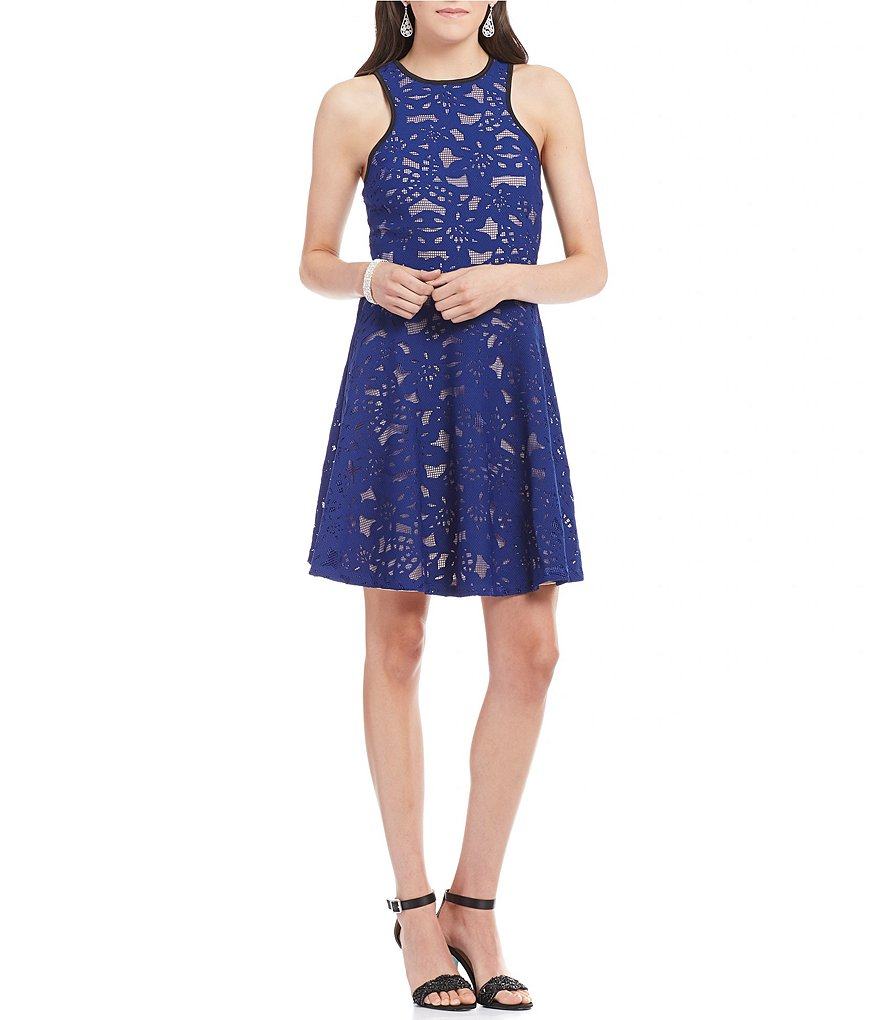 Mystic Bonded Lace Skater Dress
