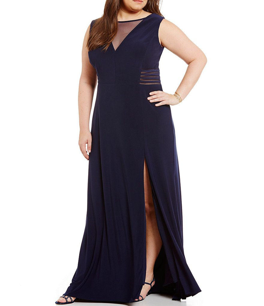 Morgan & Co. Plus Illusion V-Inset Long Dress