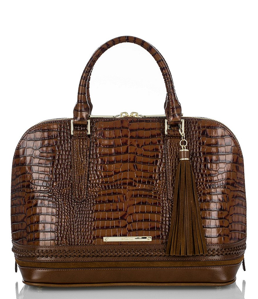 Brahmin Rockdale Collection Vivian Crocodile-Embossed Tasseled Dome Satchel