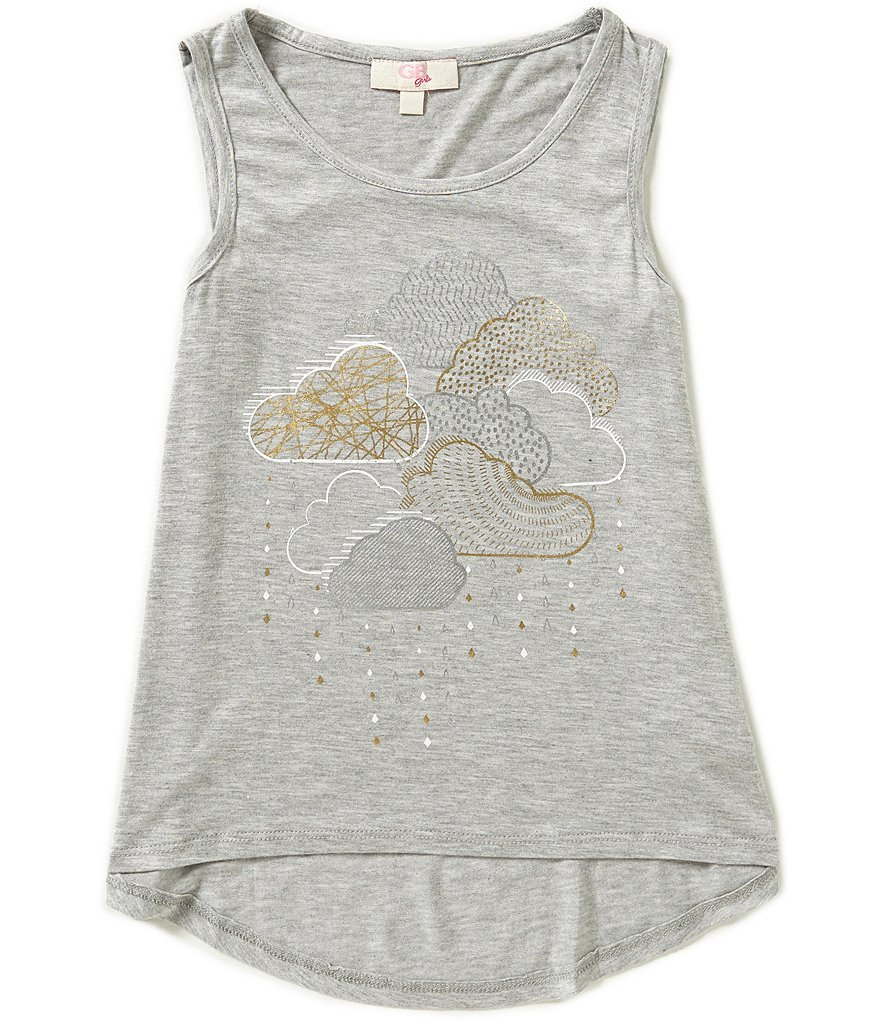 GB Girls Big Girls 7-16 Foiled Cloud High-Low Tank