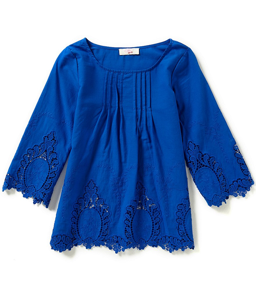 GB Girls Big Girls 7-16 Lace-Embroidered Crochet-Inset Peasant Blouse