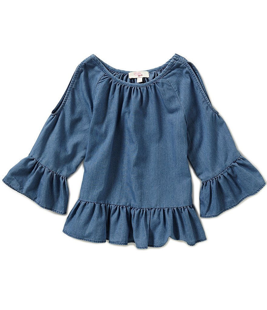 GB Girls Big Girls 7-16 Chambray Cold Shoulder Blouse