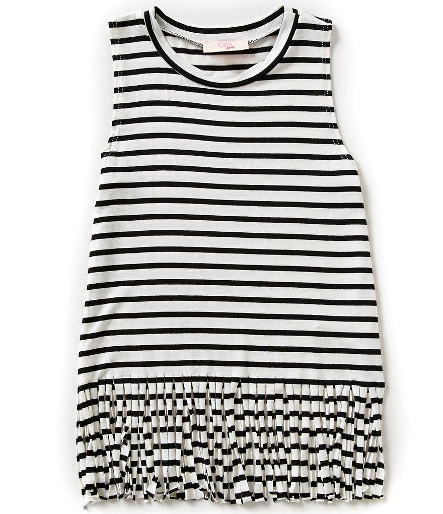 GB Girls Big Girls 7-16 Stripe Fringe Tank