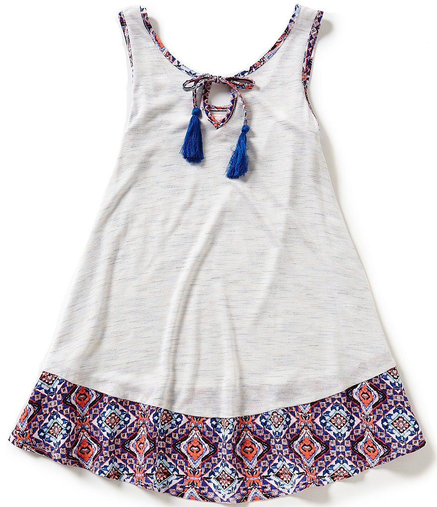 GB Girls Big Girls 7-16 Tassel Border-Print Tank Top