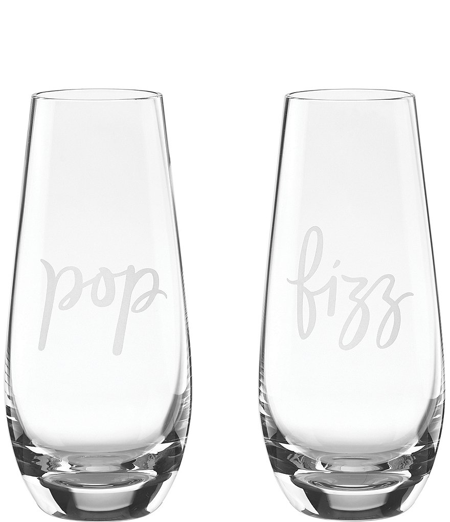 kate spade new york Two of A Kind Pop & Fizz Crystal Stemless Champagne Glass Pair