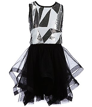 Hannah Banana Black Label Big Girls 7-16 Sequined Top and Asymmetrical Skirt Set