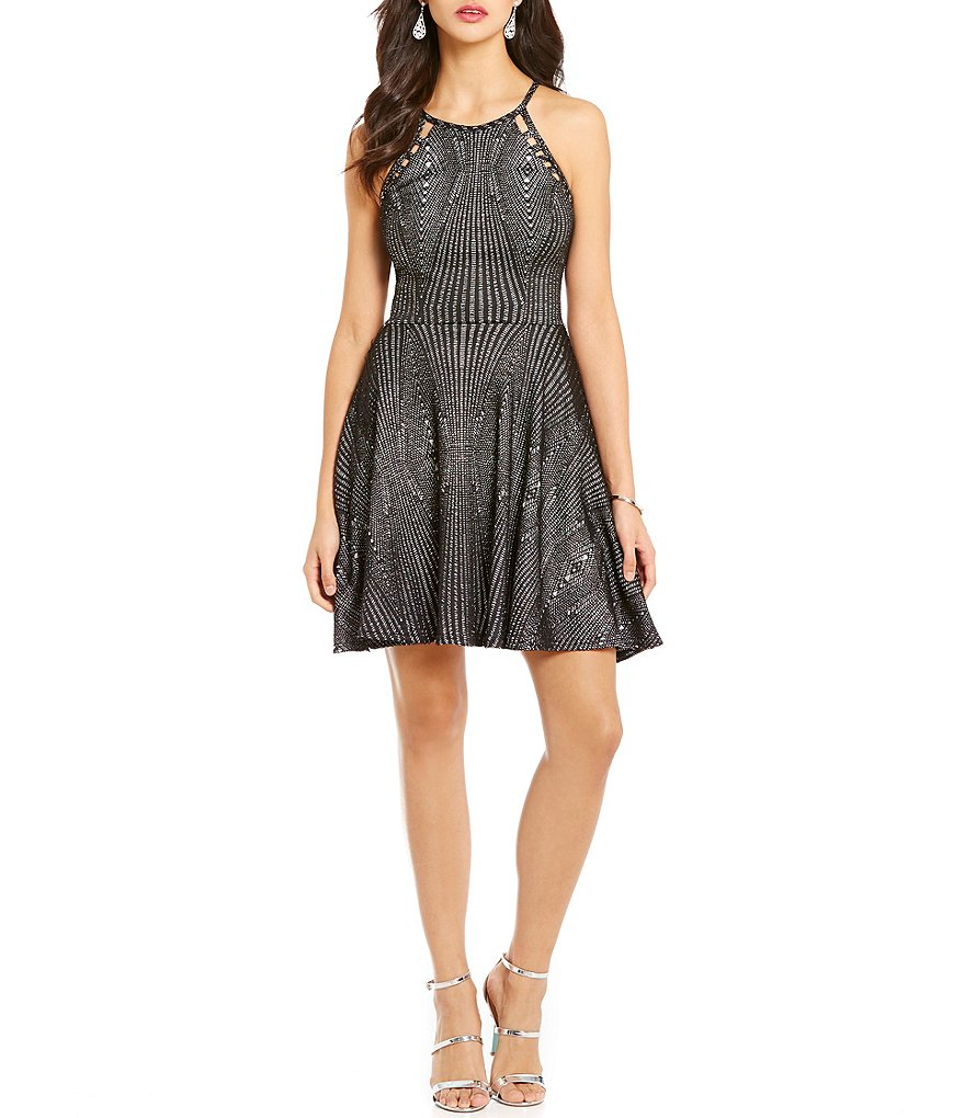 Jodi Kristopher Glitter Knit Skater Dress