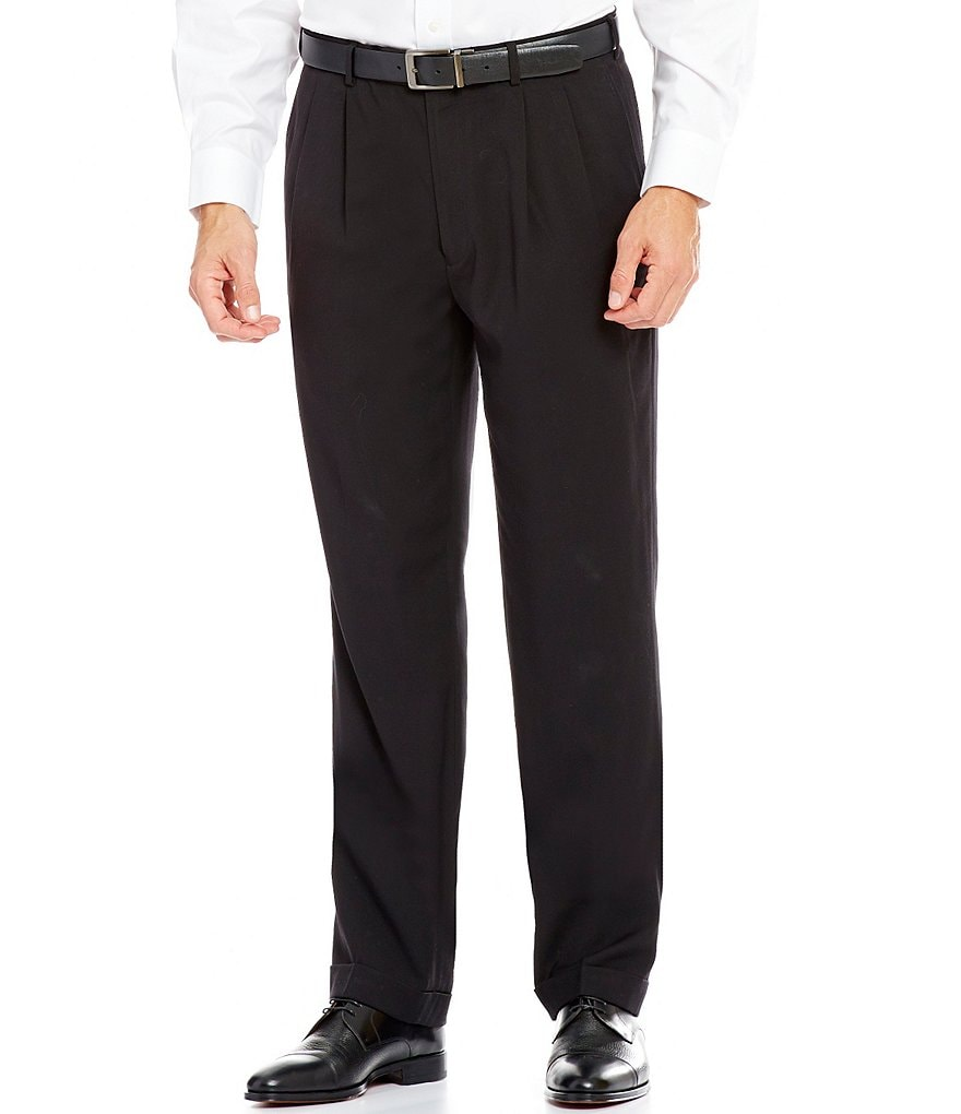 Roundtree & Yorke TravelSmart Ultimate Comfort Classic Fit Pleated Textured Dress Pants