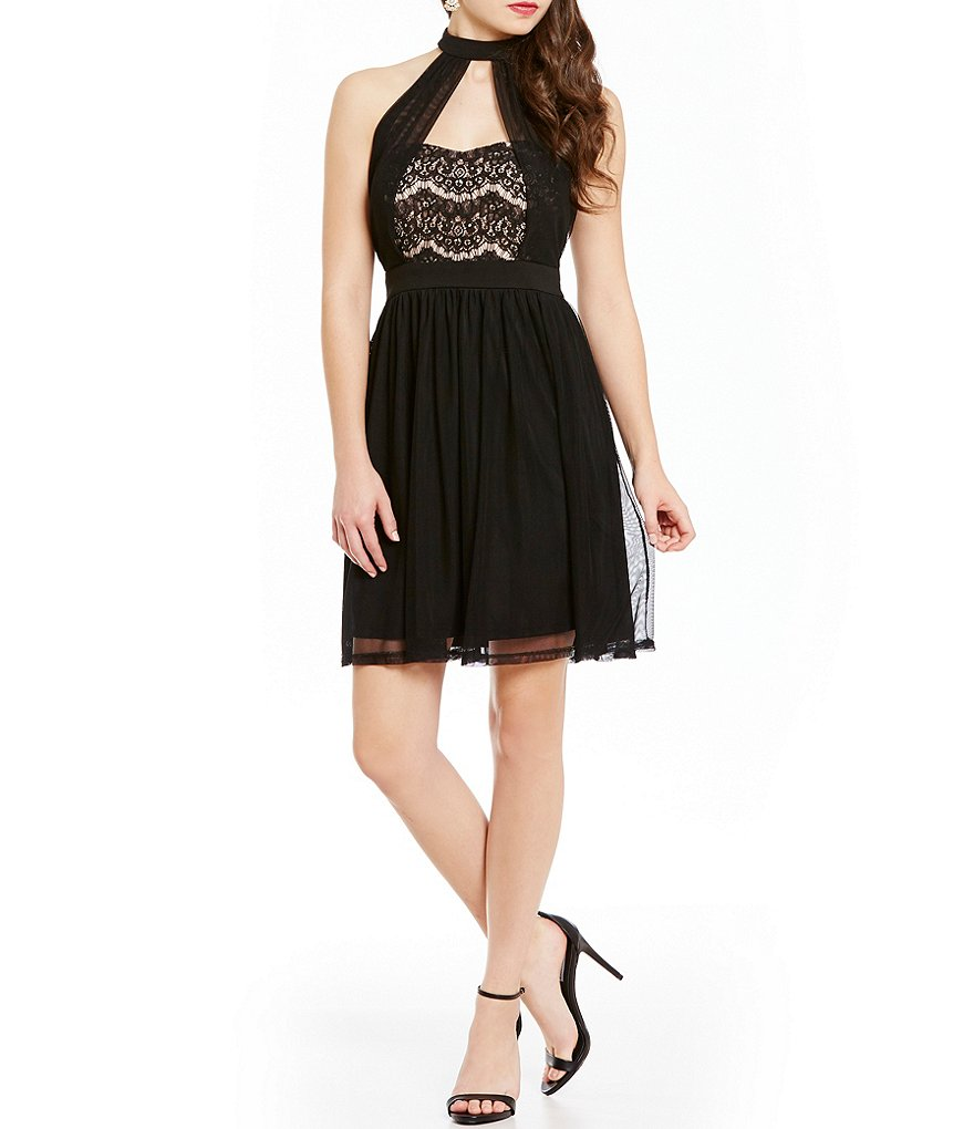 Mystic Lace to Mesh Halter Choker Neckline Fit-and-Flare Dress