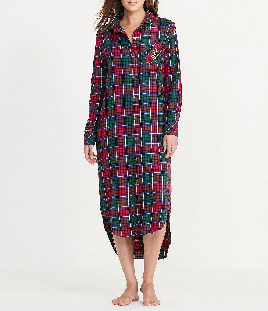 Lauren Ralph Lauren Plaid Twill Maxi Sleepshirt