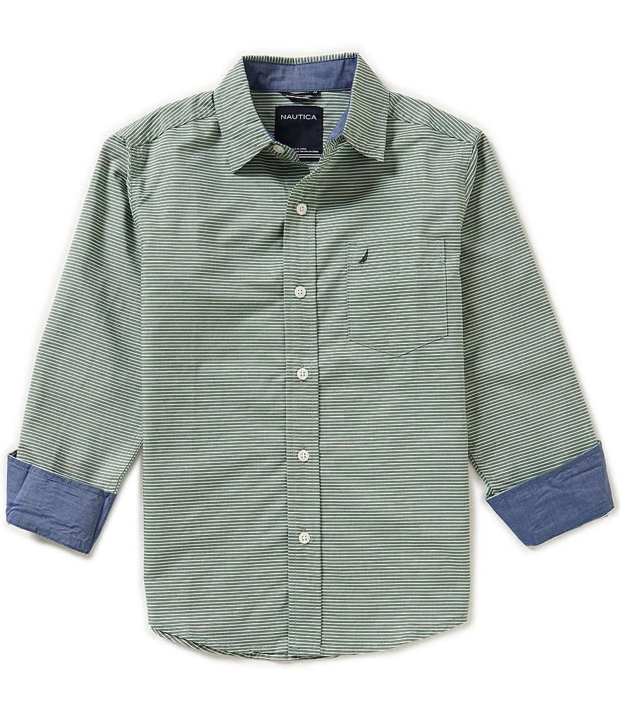 Nautica Big Boys 8-20 Woven Striped Long-Sleeve Shirt