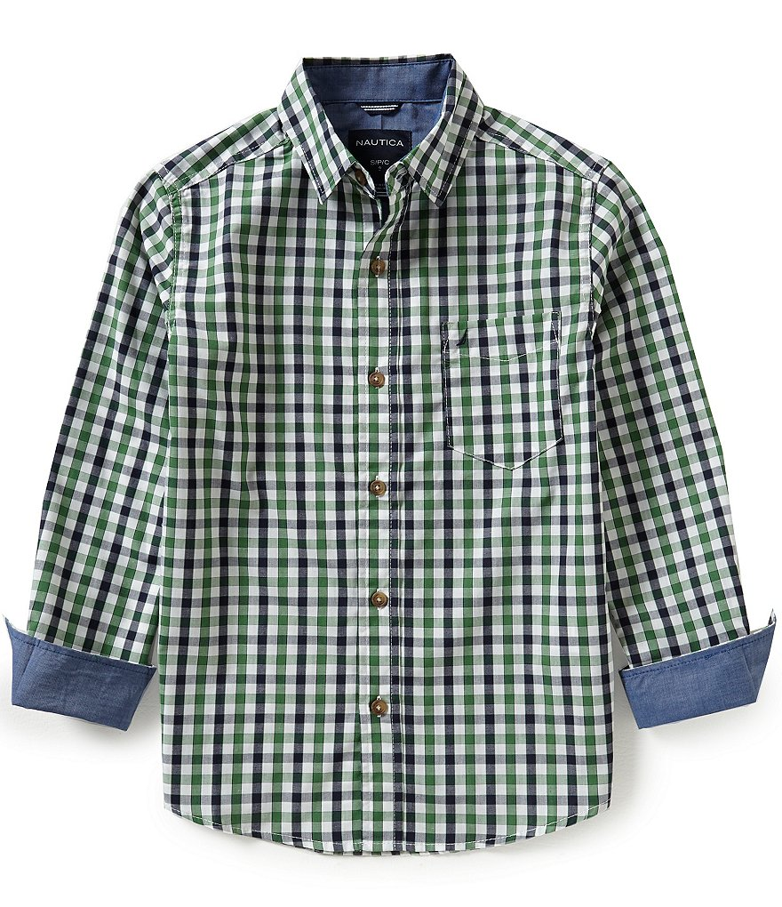 Nautica Big Boys 8-20 Plaid Woven Long-Sleeve Shirt