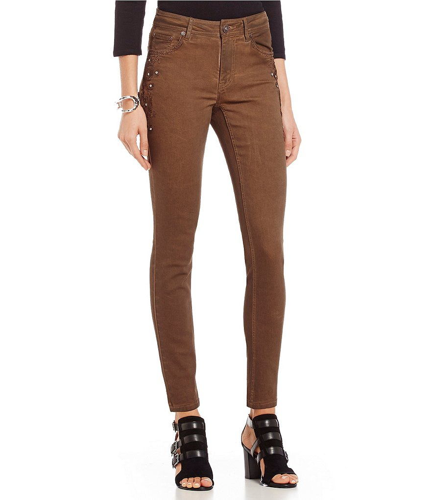 Reba Autumn Rose Lupita Coated Skinny Jean