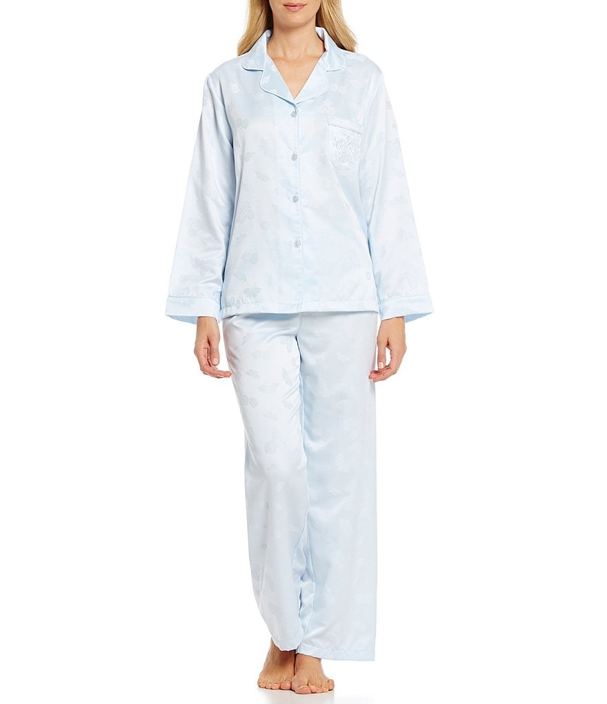 Miss Elaine Brushed Back Satin Floral Printed Pajamas