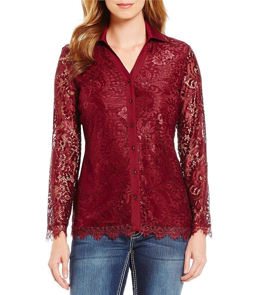 Reba Autumn Rose Lace Knit Long Sleeve Top