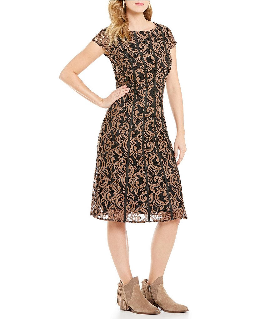 Reba Autumn Rose Lace and Leather Dress