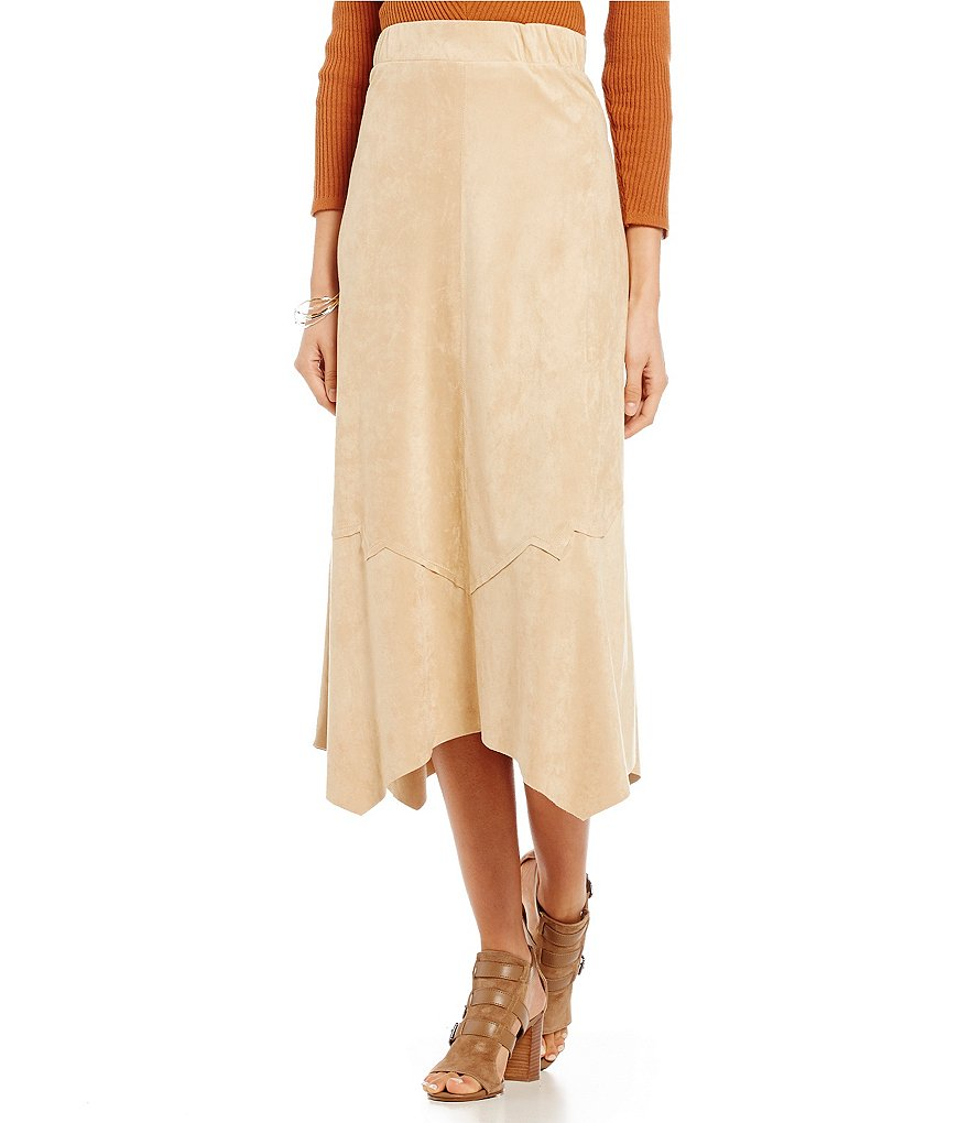 Reba Autumn Rose A-Line Faux Suede Asymmetrical Skirt