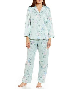 Miss Elaine Brushed Back Satin Floral Pajamas