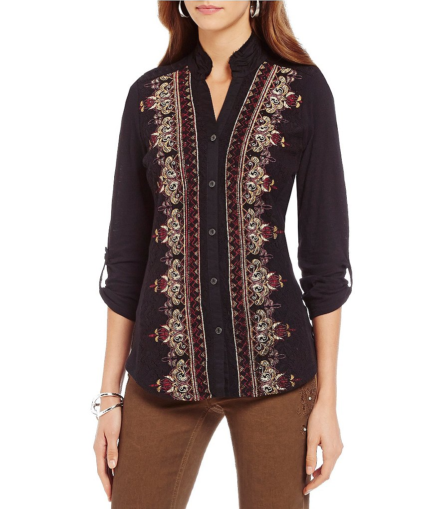 Reba Autumn Rose Embroidered Button Front Top