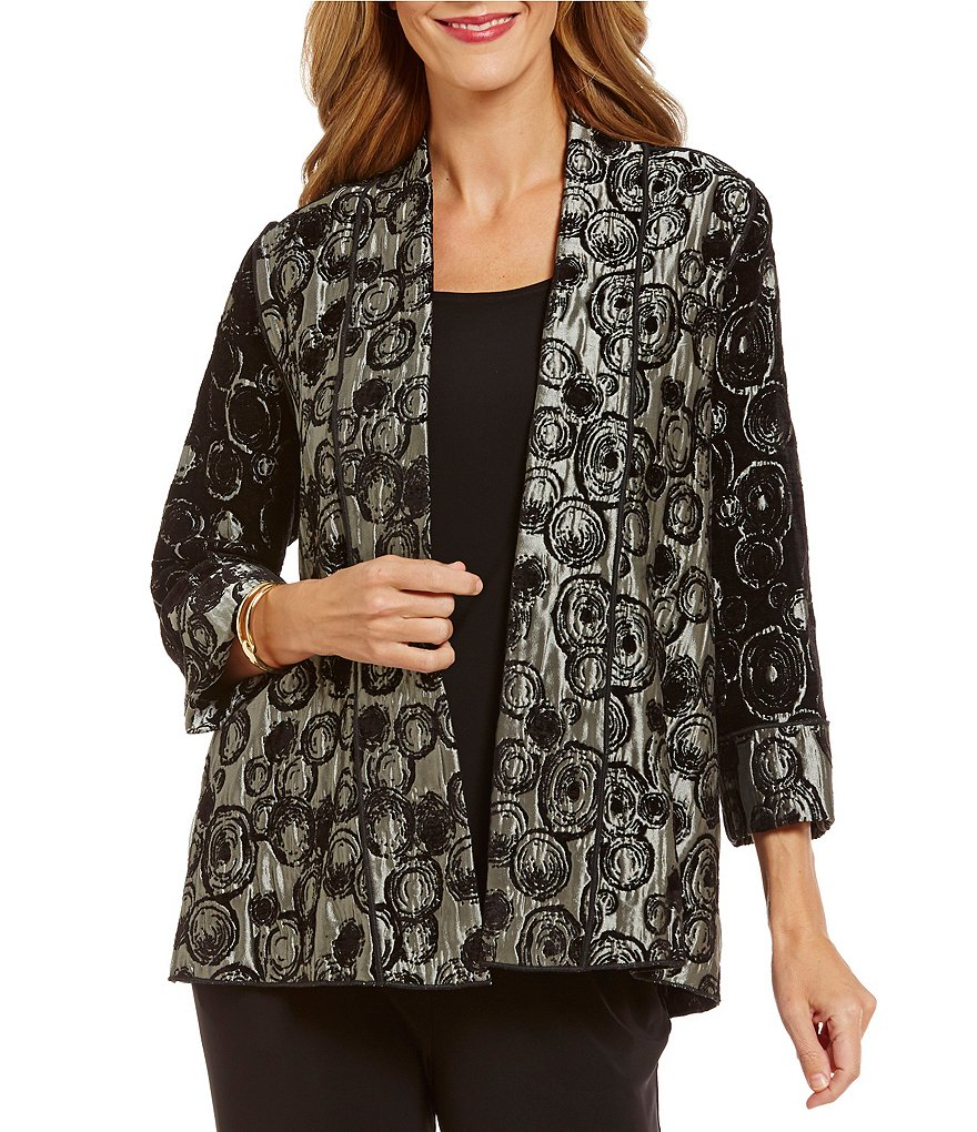 IC Collection Relaxed Circle Open Front Print Jacket
