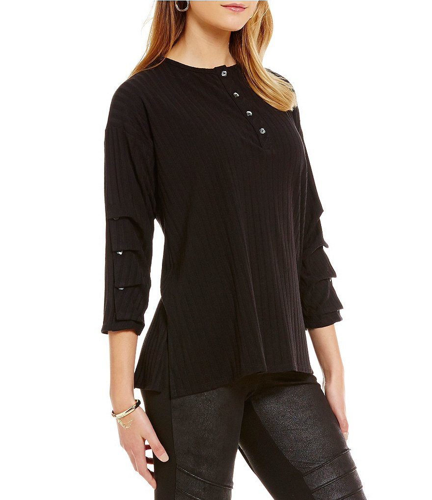 IC Collection Ruffled Long Sleeve Knit Top