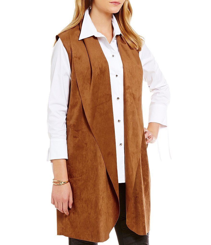 IC Collection Faux Suede Open Front Vest