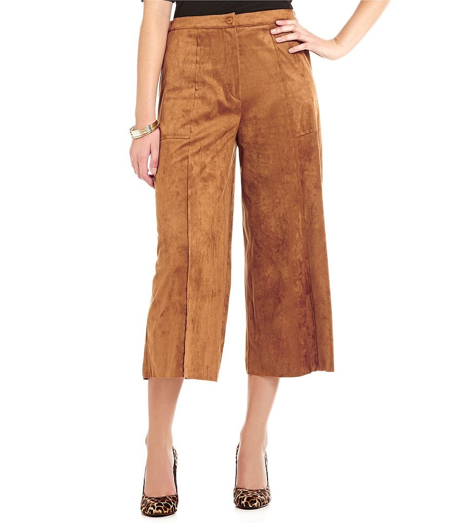IC Collection Faux-Suede Gaucho Pants