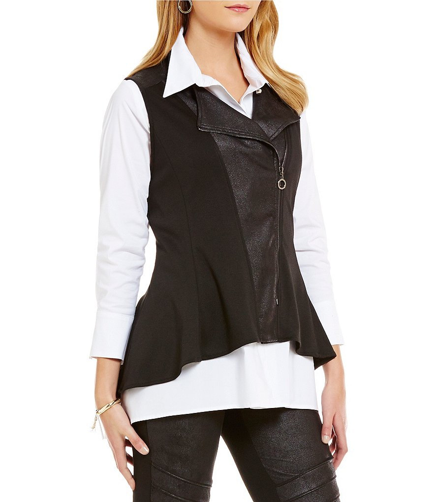 IC Collection Faux-Leather Trimmed Vest