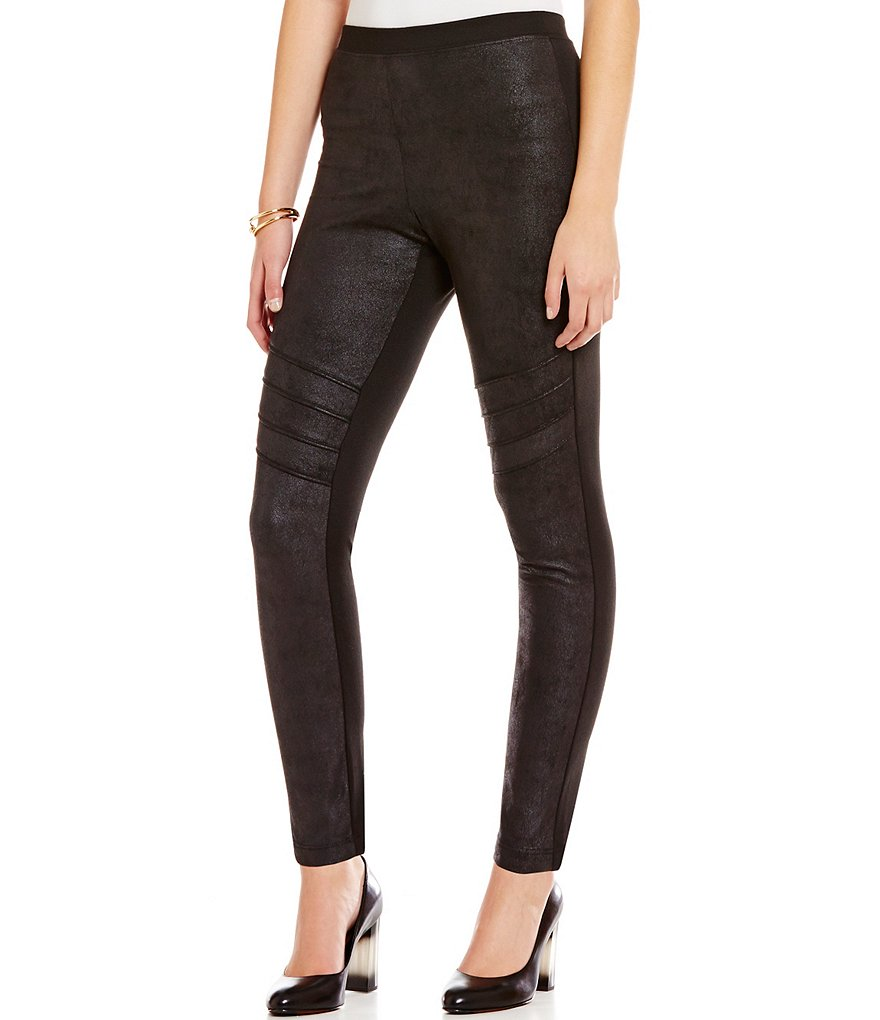 IC Collection Faux Leather Trimmed Flat-Front Leggings