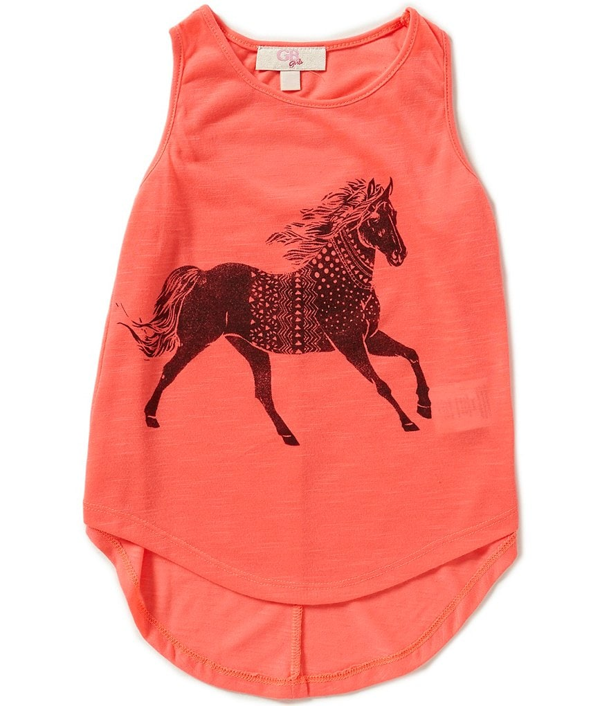 GB Girls Little Girls 4-6X Block Print Horse Tank