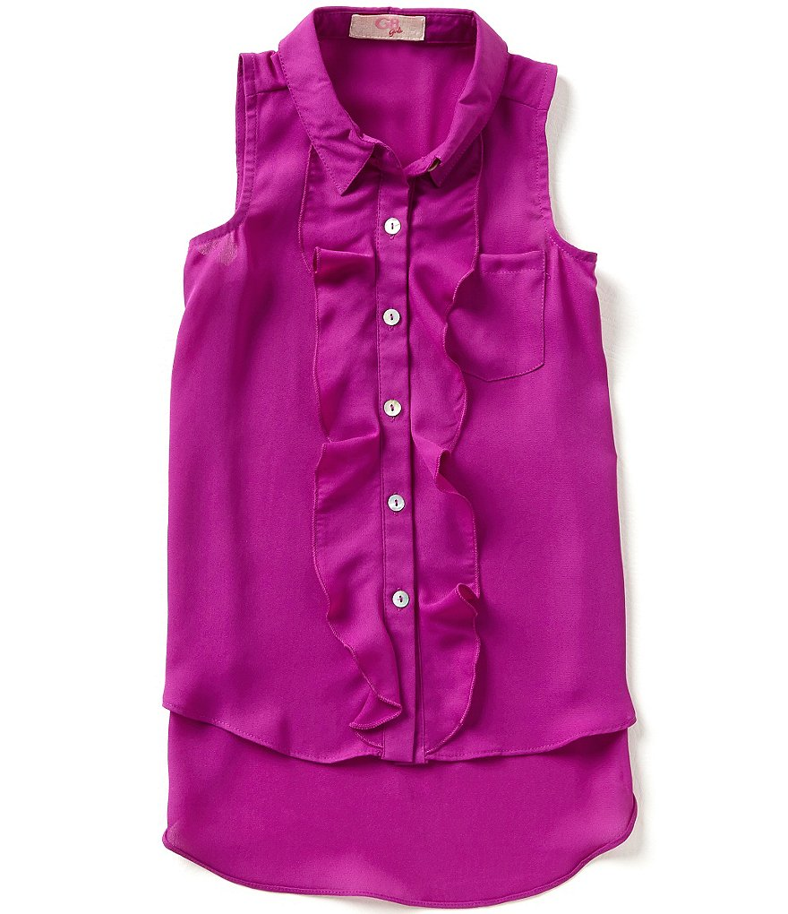 GB Girls Little Girls 4-6X Sleeveless Ruffle Blouse