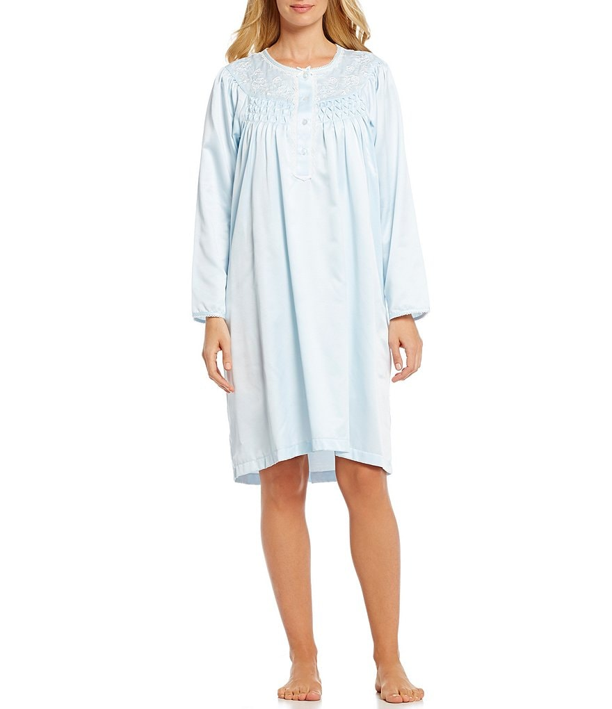 Miss Elaine Brushed Back Satin Embroidered Nightgown