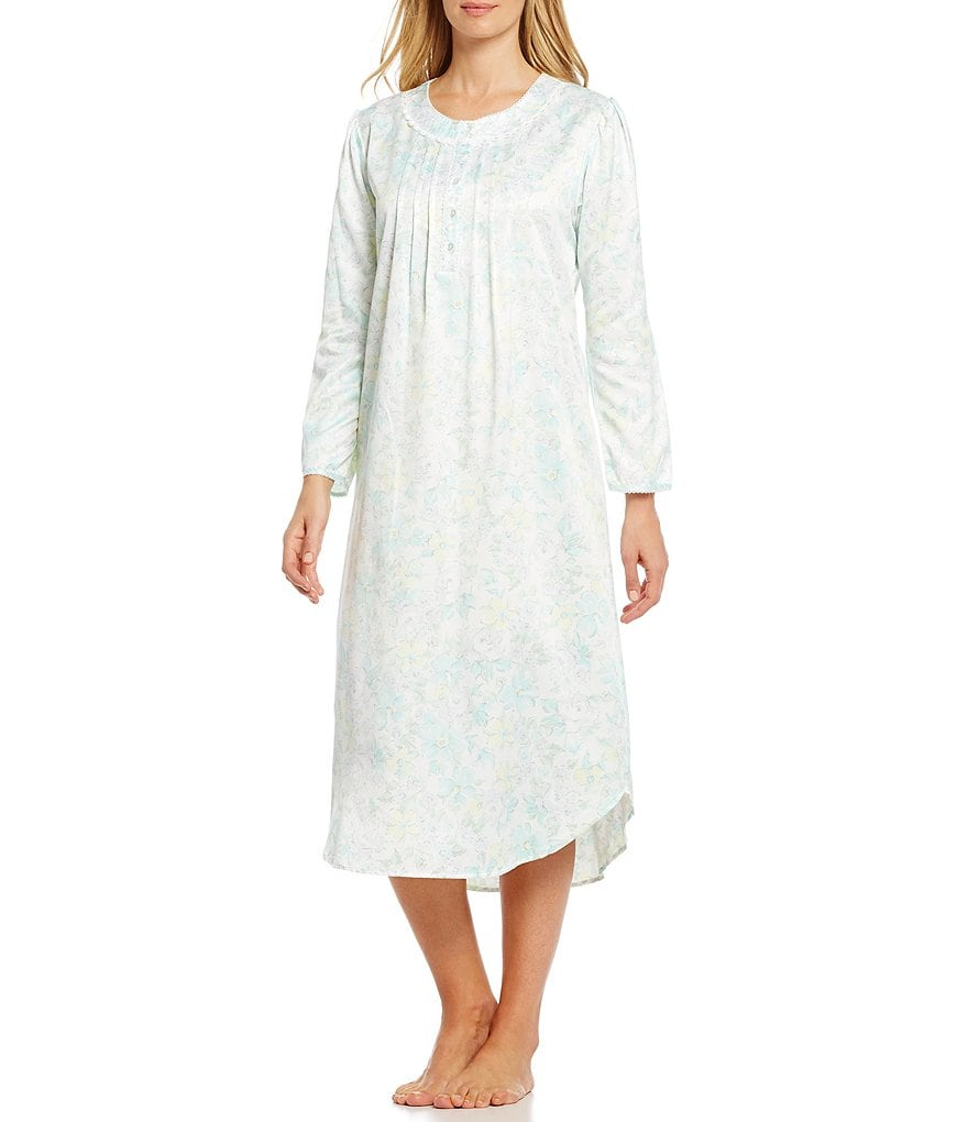 Miss Elaine Brushed Back Satin Floral Nightgown