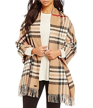 Fraas Cashmere Exploded Plaid Blanket Wrap