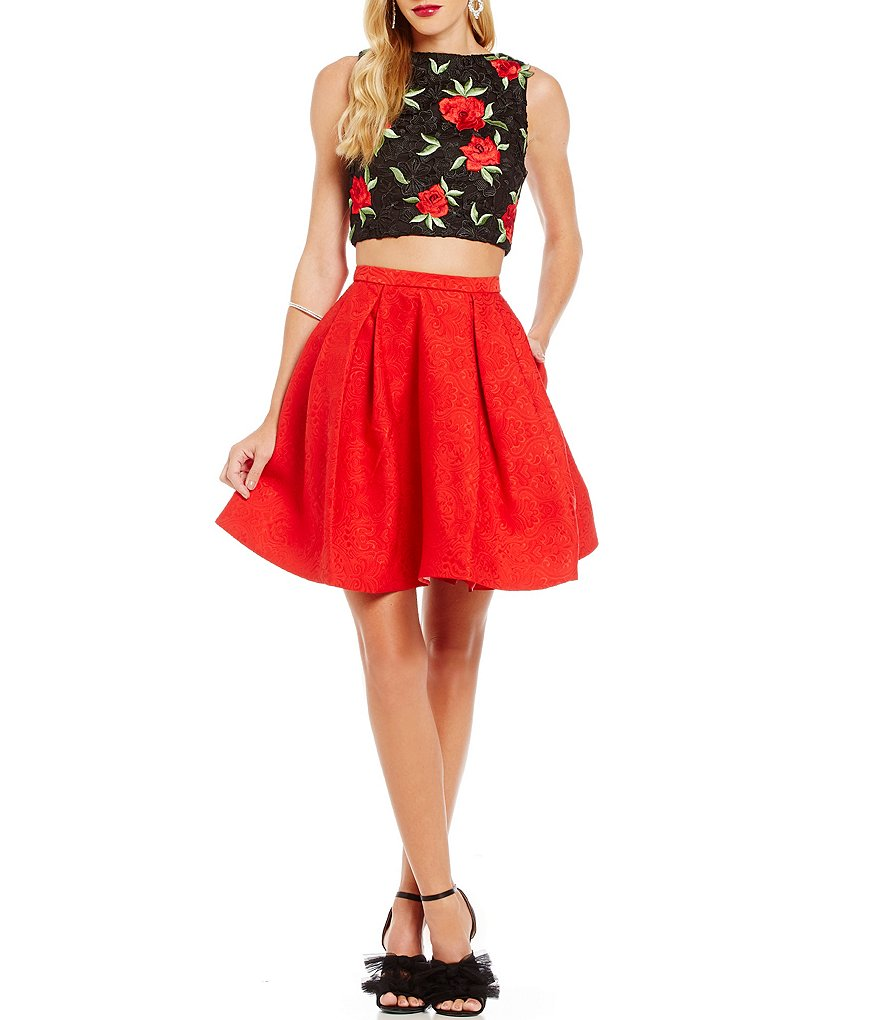 Mac by Mac Duggal Floral Embroidered Bodice Two-Piece Party Dress