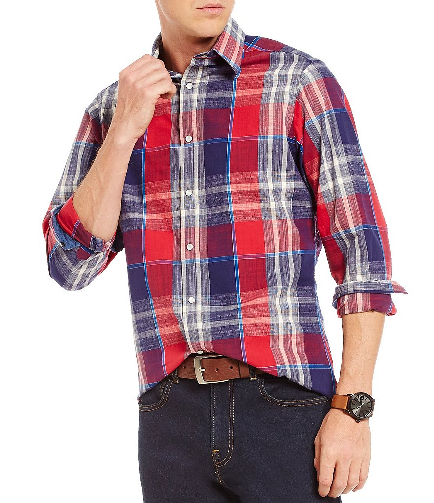 Cremieux Jeans Plaid Snap-Front Long-Sleeve Woven Shirt