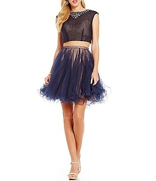 Mac by Mac Duggal Two-Tone Two-Piece Party Dress