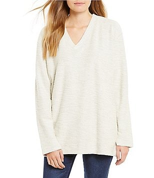 Lauren James V-Neck Wool-Like Oversized Sweatshirt