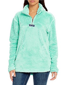 Lauren James Linden Faux-Sherpa Partial-Zip Fleece Pullover