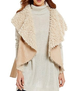 ELAN Open Lapel Sleeveless Faux-Shearling and Faux-Suede Vest