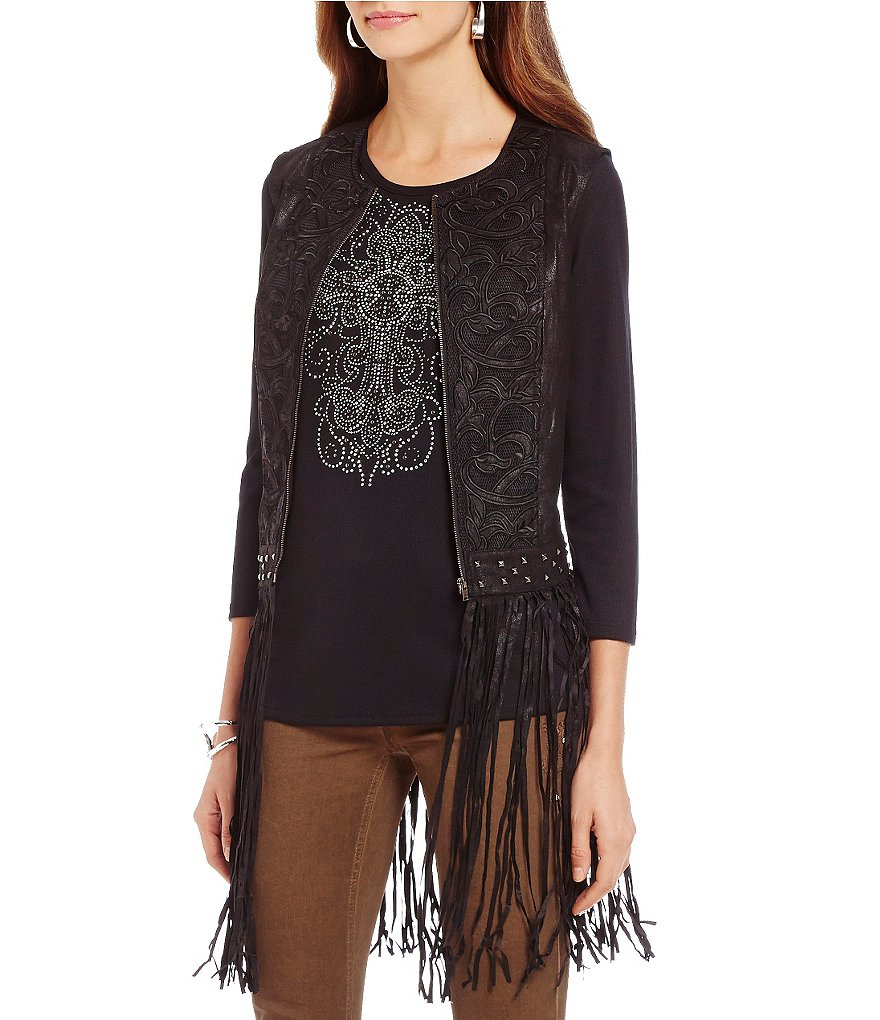 Reba Autum Rose Embroidered Fringe Vest