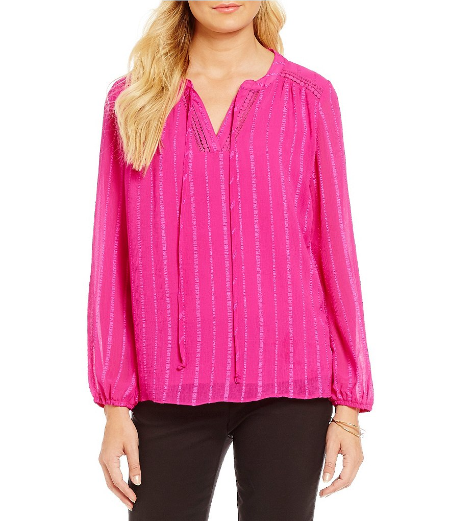 Gibson & Latimer Long Sleeve Textured Peasant Blouse