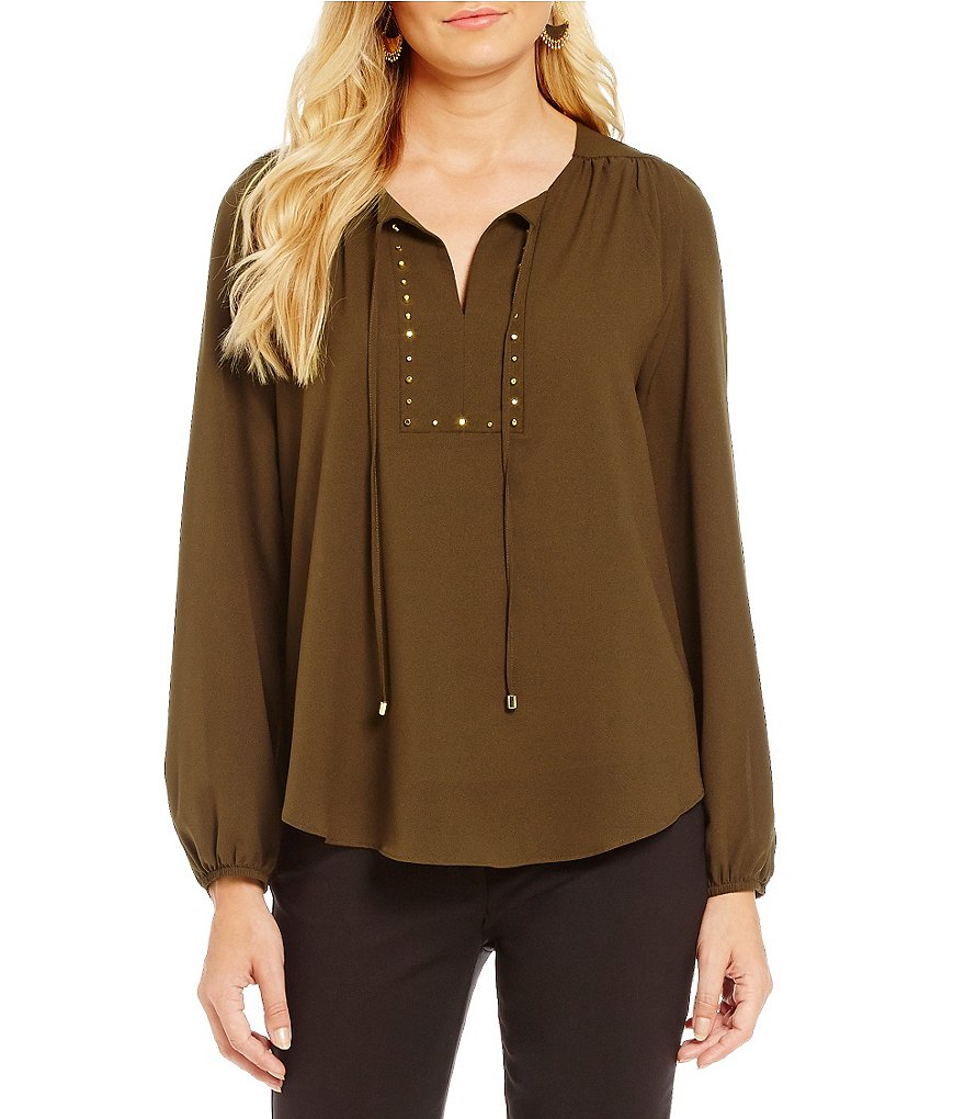 Gibson & Latimer Studded Front Peasant Blouse