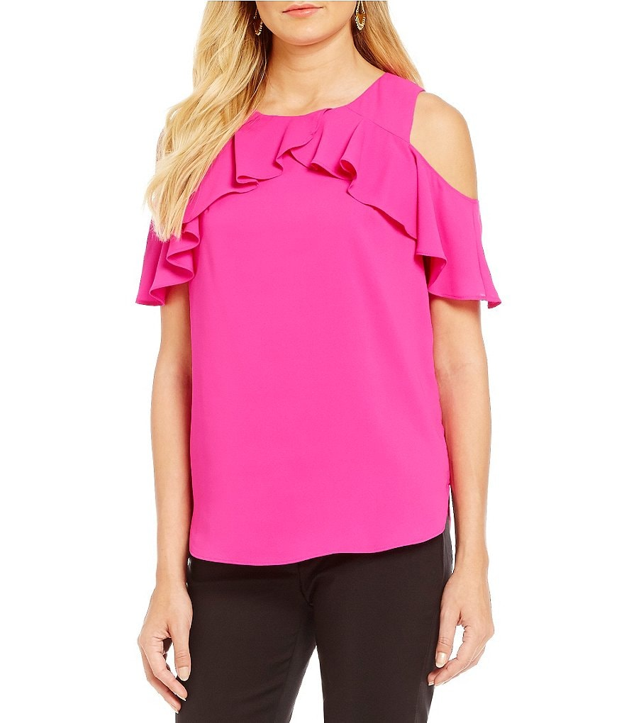 Gibson & Latimer Cold-Shoulder Blouse with Ruffle Sleeve
