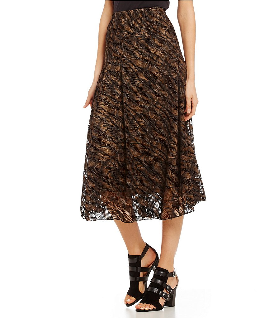 Reba Autumn Rose Cutout Metallic Print Skirt