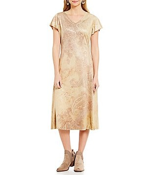 Reba Autumn Rose V-Neck Faux-Suede Printed A-Line Dress