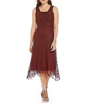 Reba Autumn Rose Asymmetrical Soutache Embroidered Lace Dress